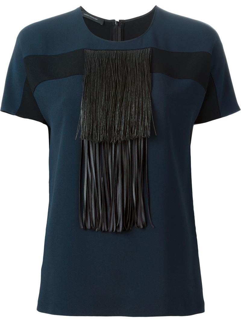 lyst cedric charlier fringed t shirt blouse in blue. Black Bedroom Furniture Sets. Home Design Ideas