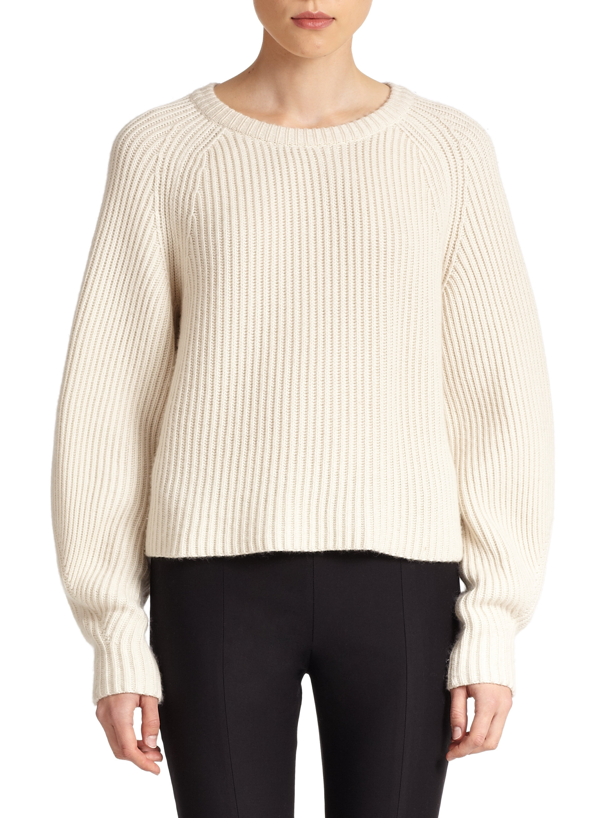 The row Finn Ribbed Silk Cashmere Sweater in White | Lyst