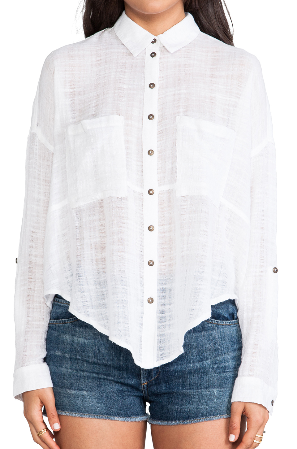 02c589396 Lyst - Free People Shibori Siren Button Down in White
