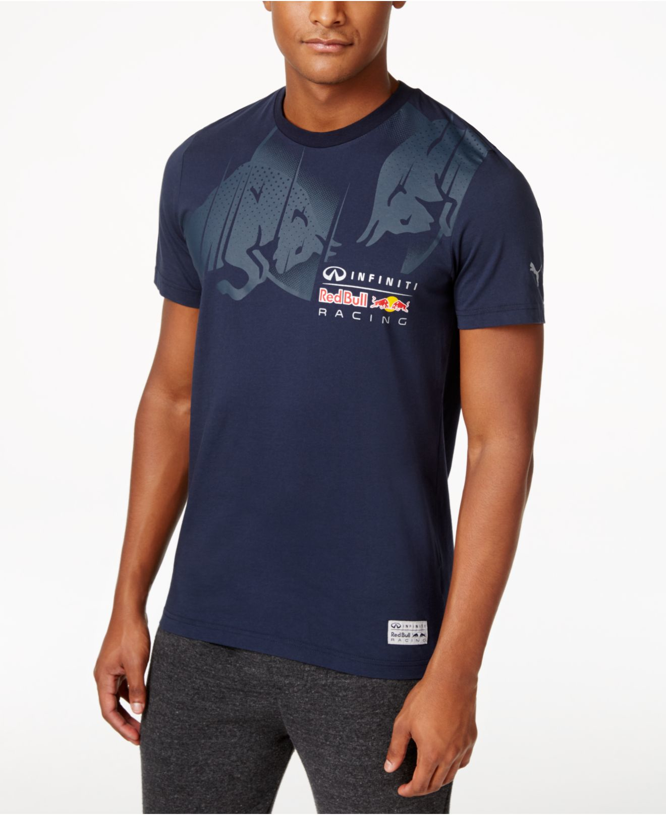 puma men 39 s red bull racing graphic t shirt in blue for men lyst. Black Bedroom Furniture Sets. Home Design Ideas