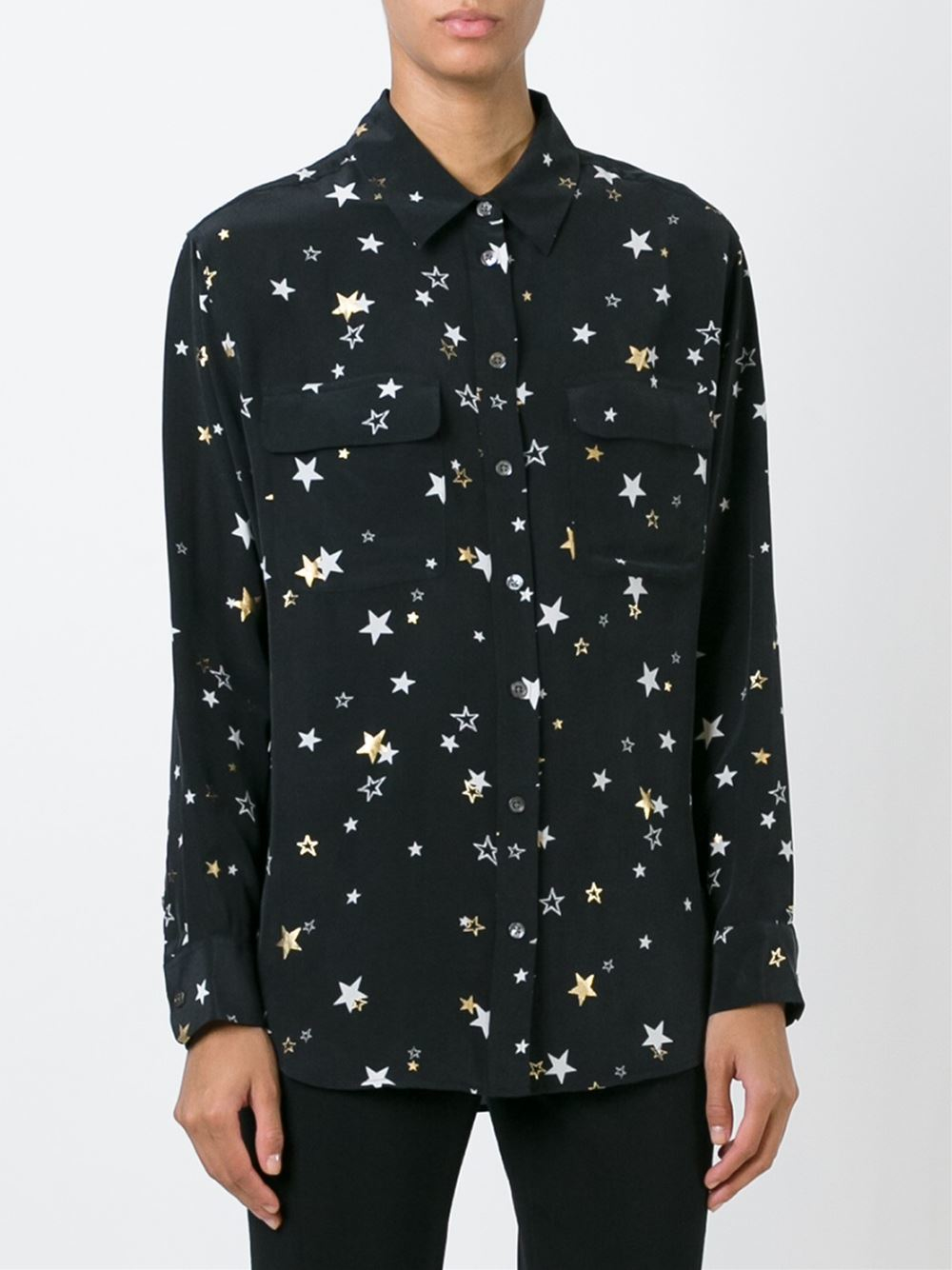 Equipment star print shirt in black lyst for Print a photo on at shirt