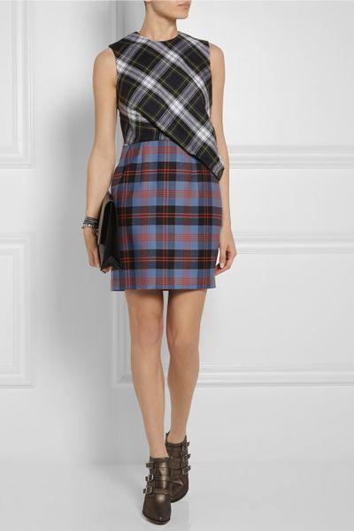 Mcq By Alexander Mcqueen Draped Tartan Wool Mini Dress in ...