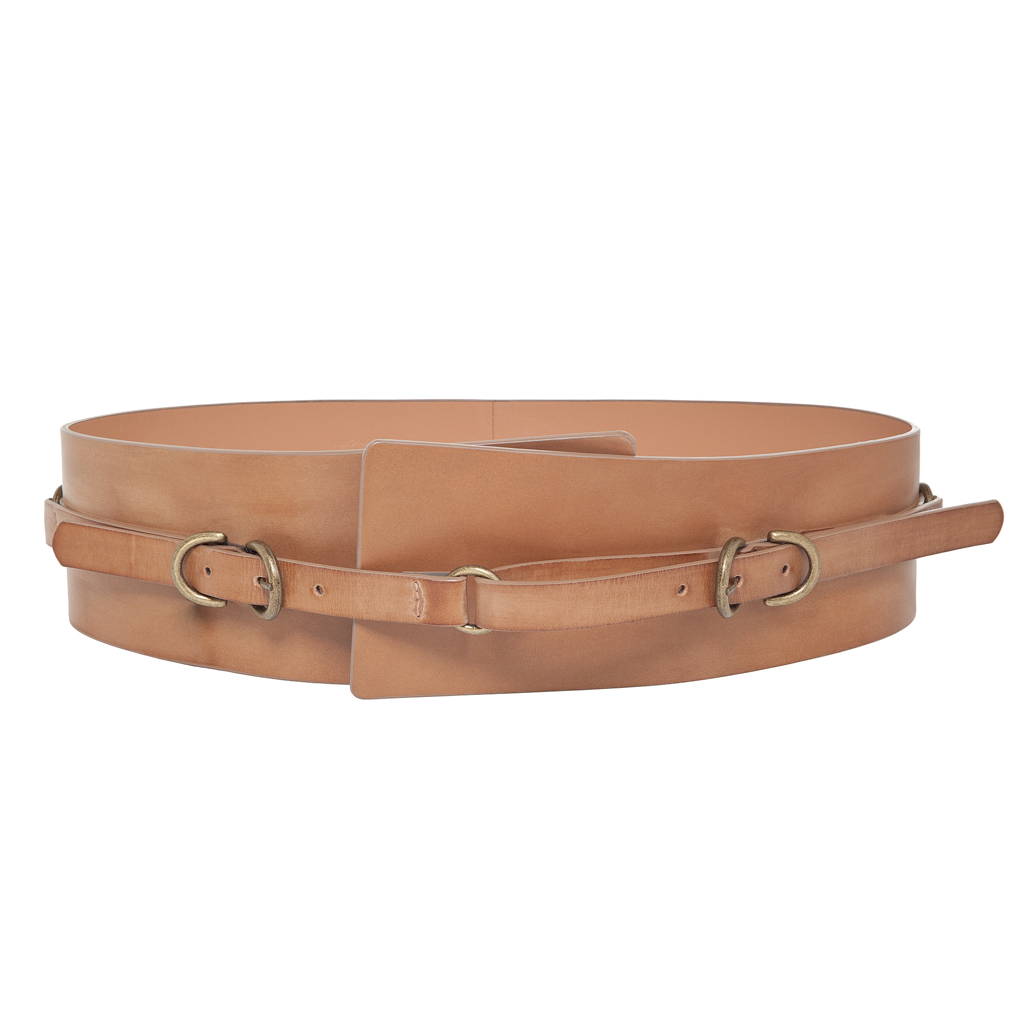 max wide leather belt in brown lyst