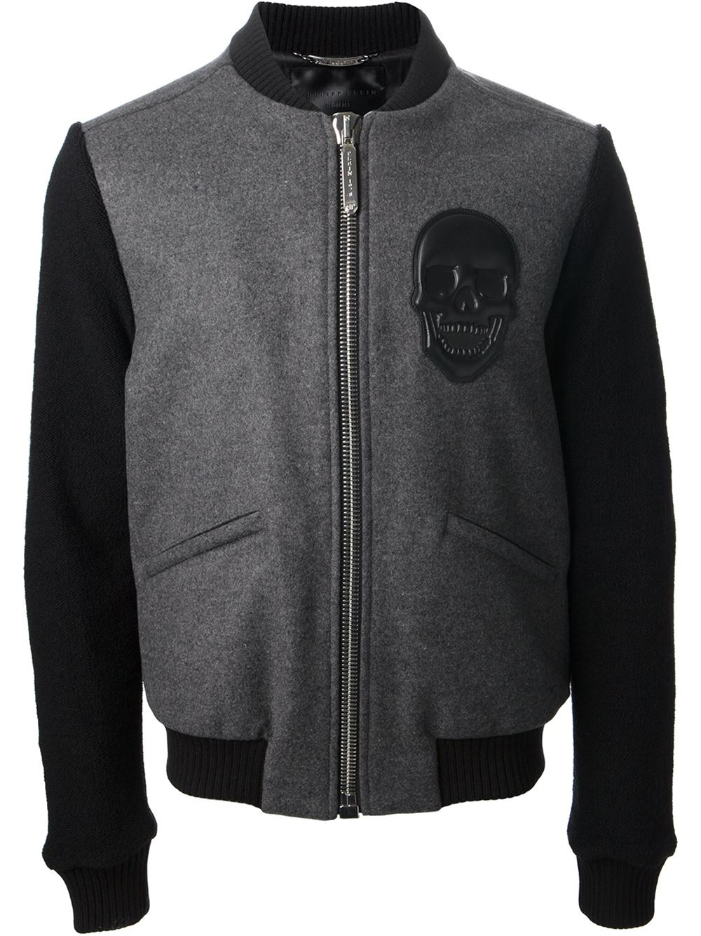 philipp plein skull patch jacket in gray for men lyst. Black Bedroom Furniture Sets. Home Design Ideas