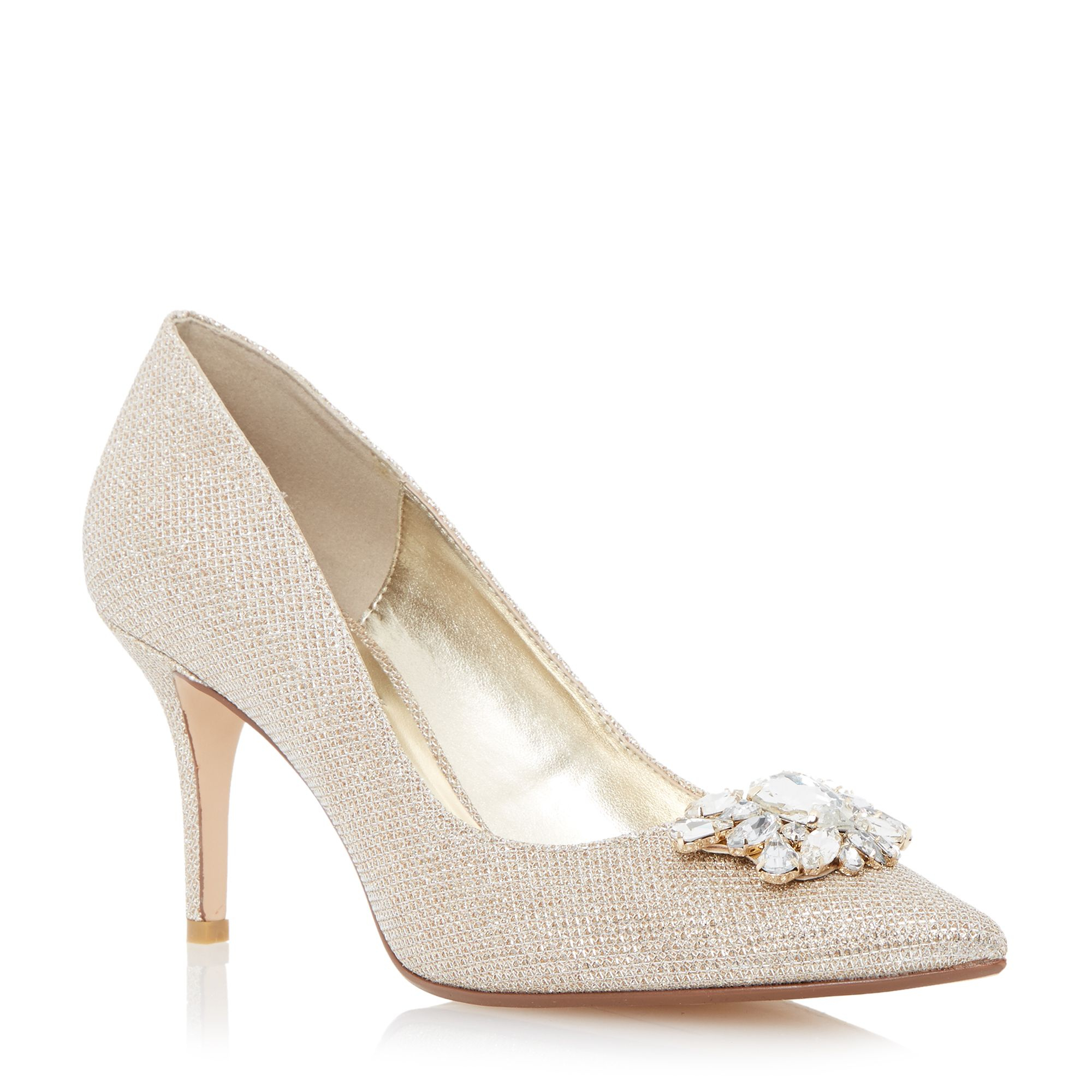 Mid Heel Gold Shoes