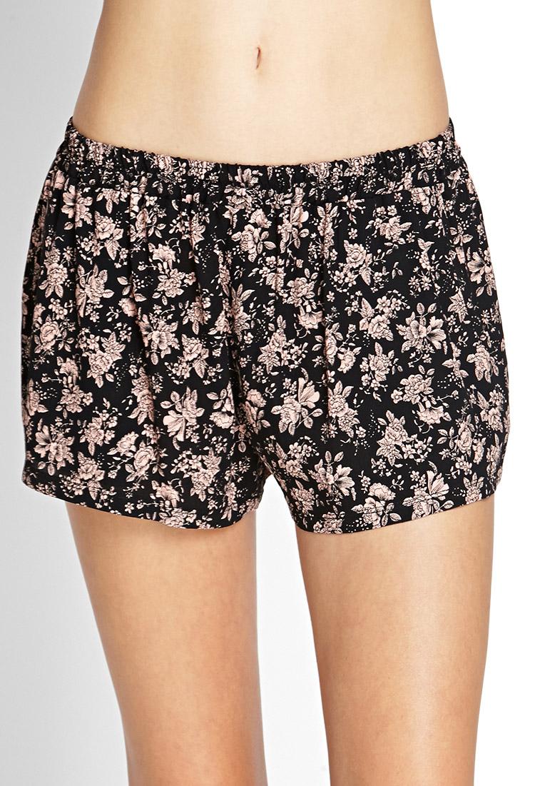 Forever 21 Floral Print Crepe Shorts in Black | Lyst