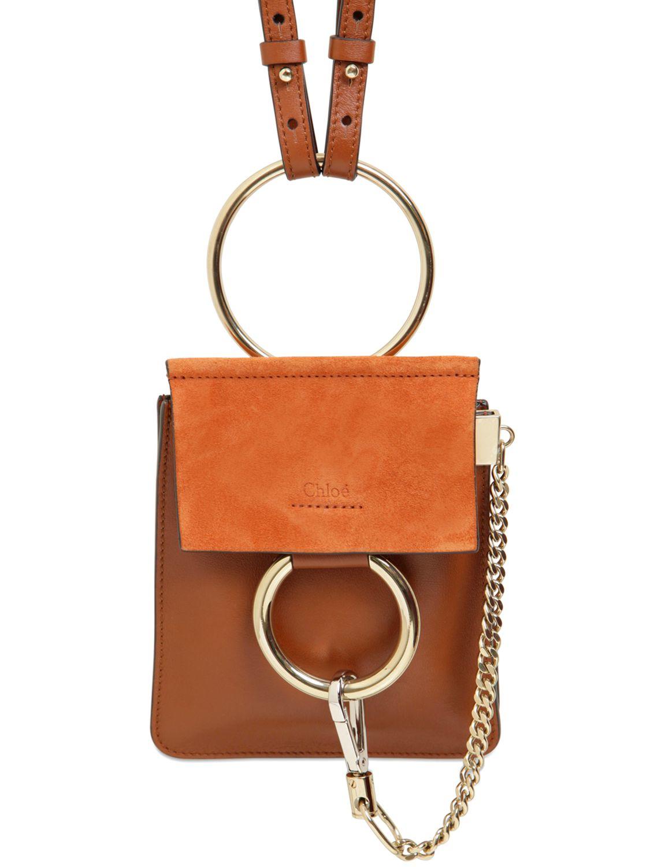 lyst chlo mini faye leather suede shoulder bag in brown. Black Bedroom Furniture Sets. Home Design Ideas