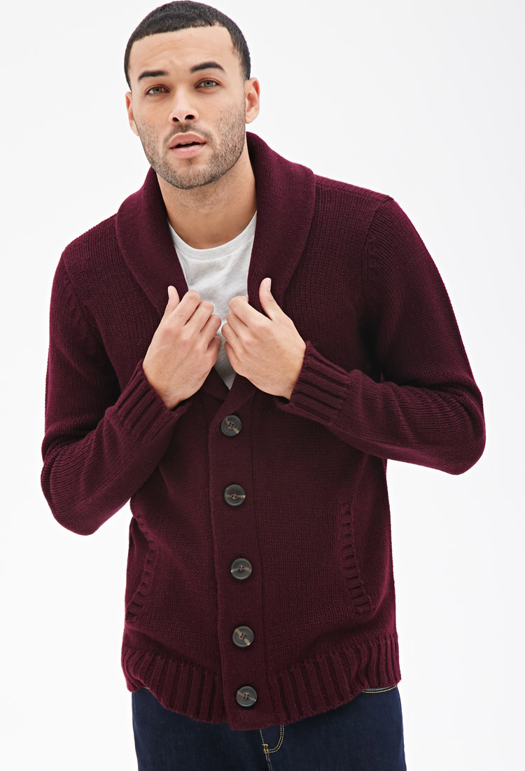 Forever 21 Shawl Collar Cardigan in Purple for Men | Lyst