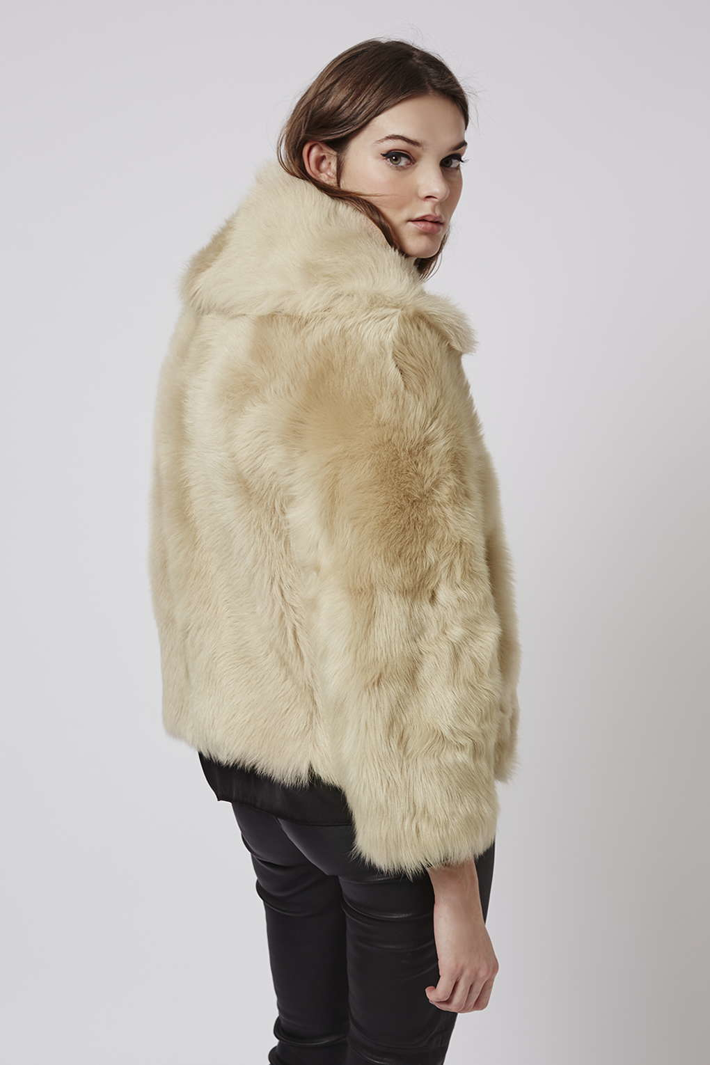 Topshop Premium Toscana Sheepskin Bomber Jacket in Natural | Lyst