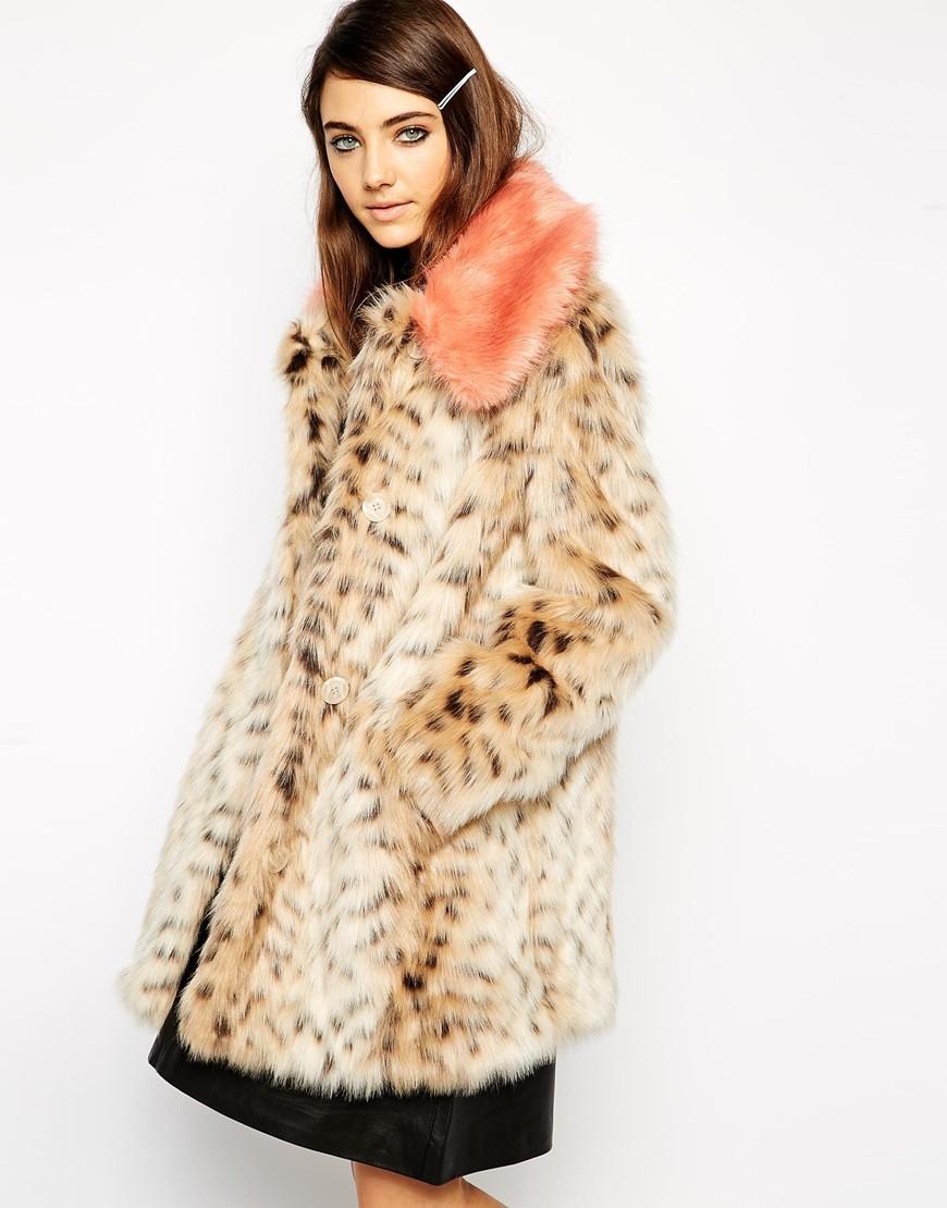 7b6a78d479f Lyst - ASOS Faux Fur Leopard Print Coat With Contrast Collar