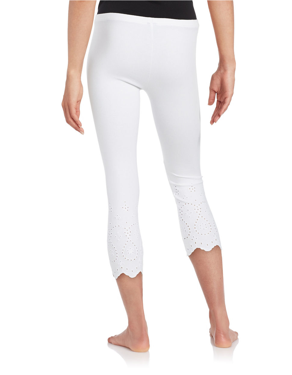 6537128ce768 White Cotton Capri Leggings - Hardon Clothes