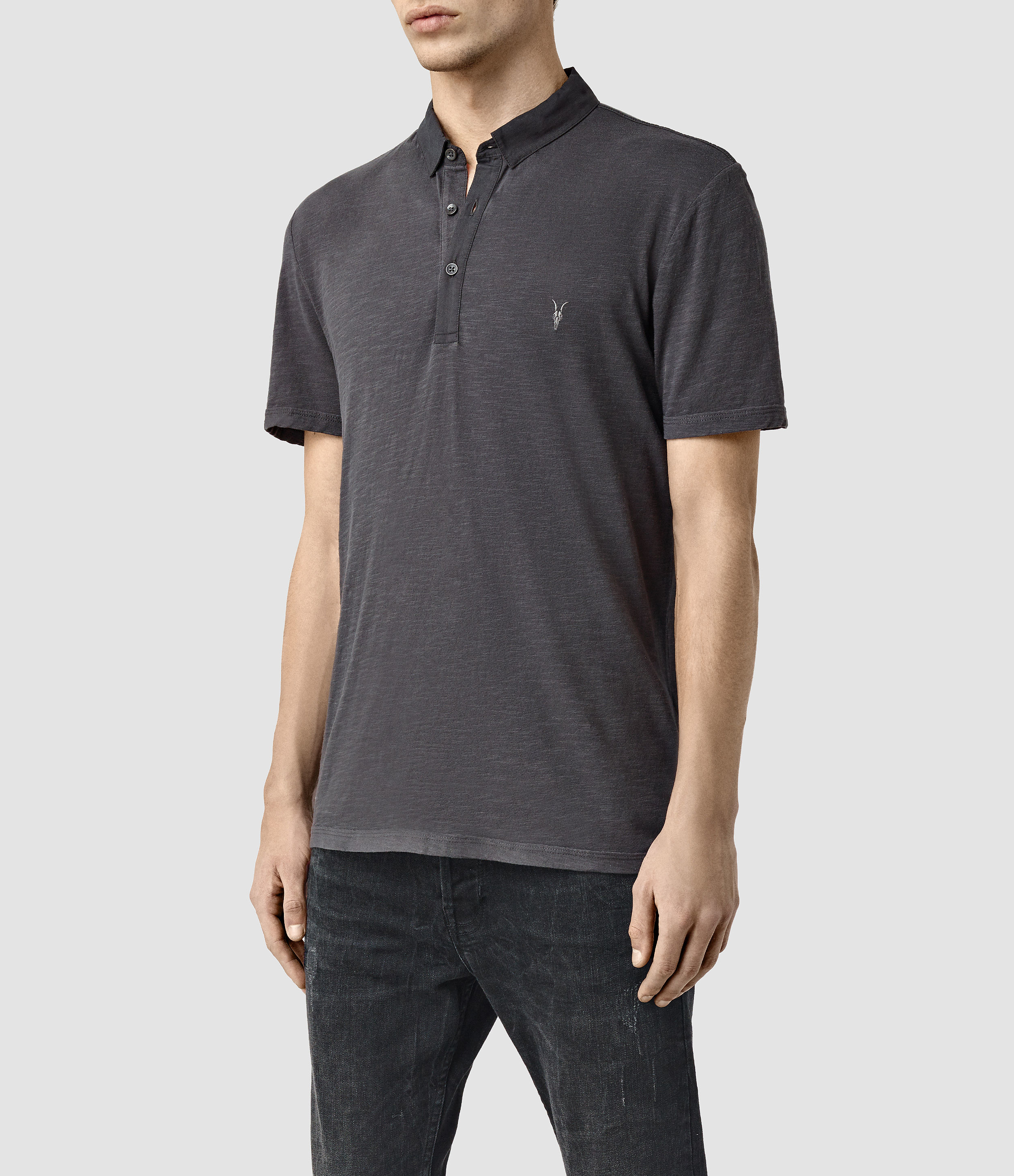 Lyst allsaints henning polo shirt in black for men for All saints polo shirt