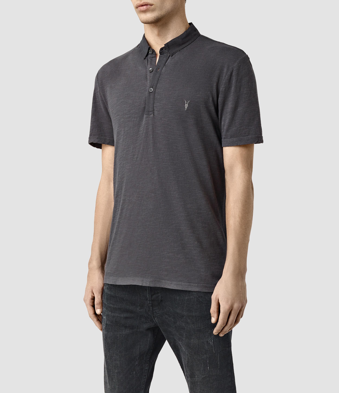 Lyst Allsaints Henning Polo Shirt In Black For Men