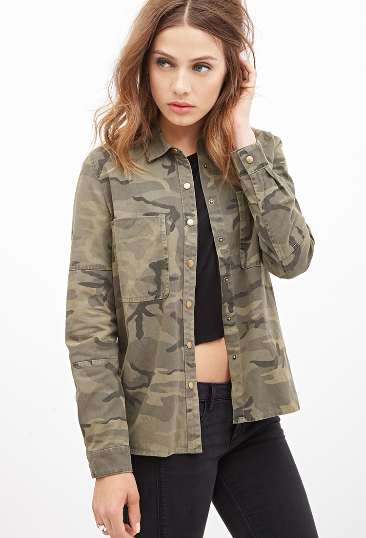 Utility Jacket Jackets And Nike: Forever 21 Camouflage Utility Jacket In Brown
