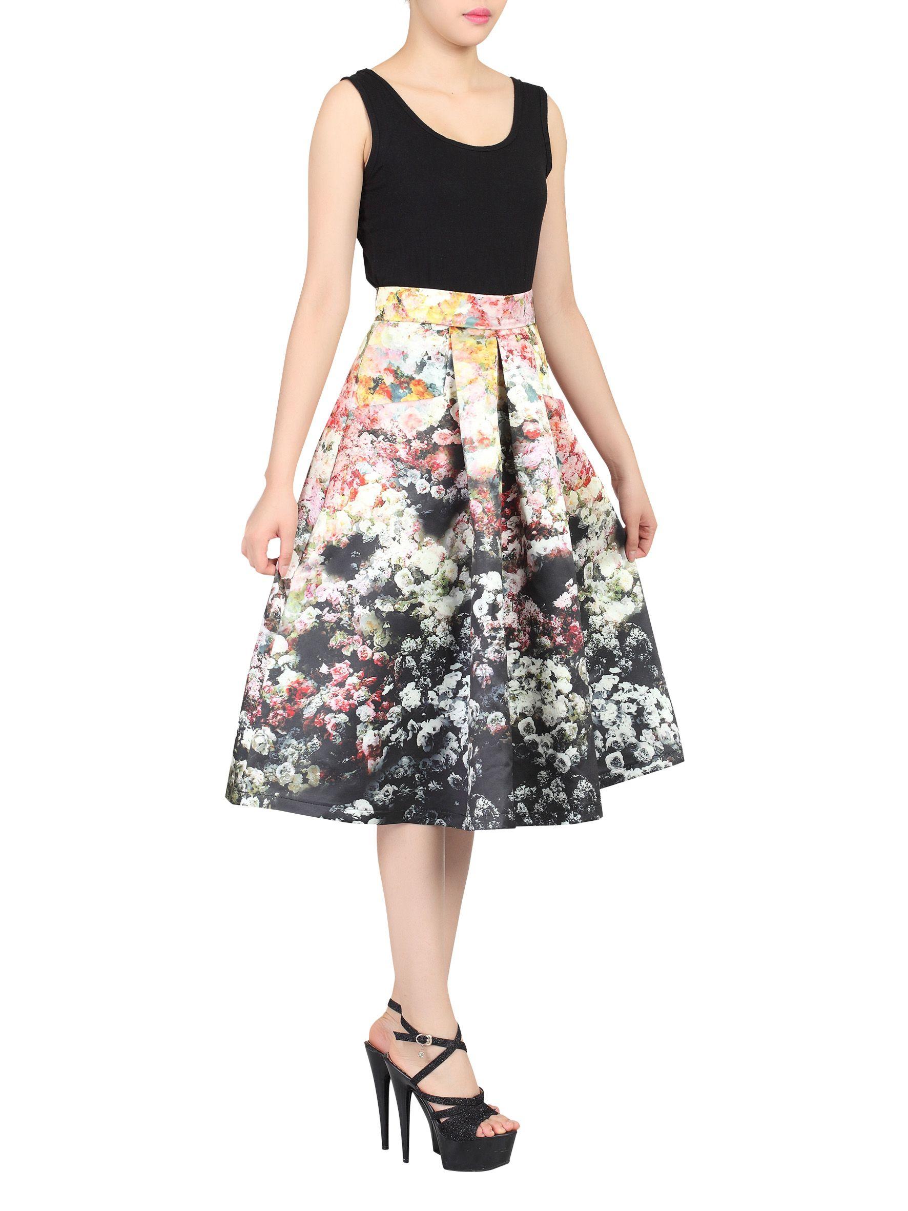moi retro floral print a line midi skirt in black lyst