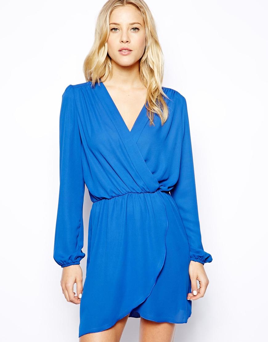 Light blue wrap dress long sleeve