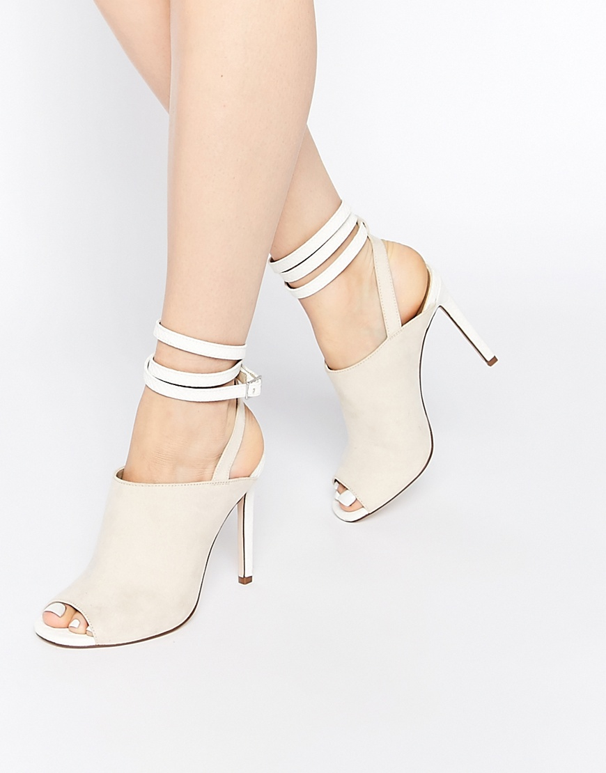 0894d1e7398 Lyst - Asos Elise Peep Toe Shoe Boots in Natural