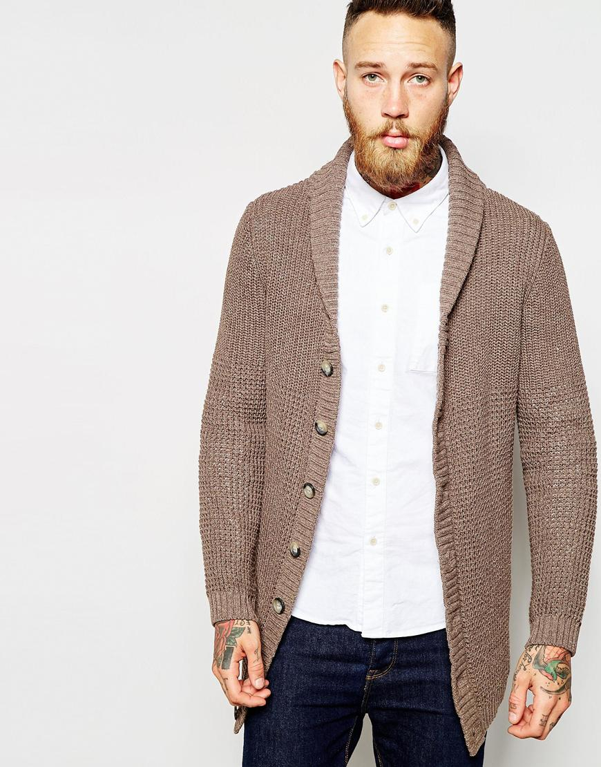 Asos Longline Shawl Neck Cardigan in Brown for Men | Lyst