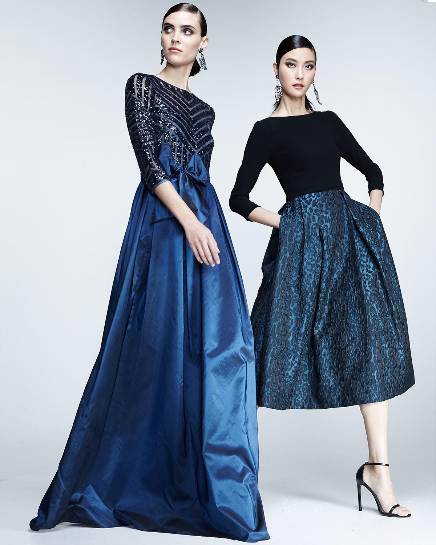 f5e2f3f99b7fb Lyst - Teri Jon 3 4-sleeve Sequined   Taffeta Gown in Blue