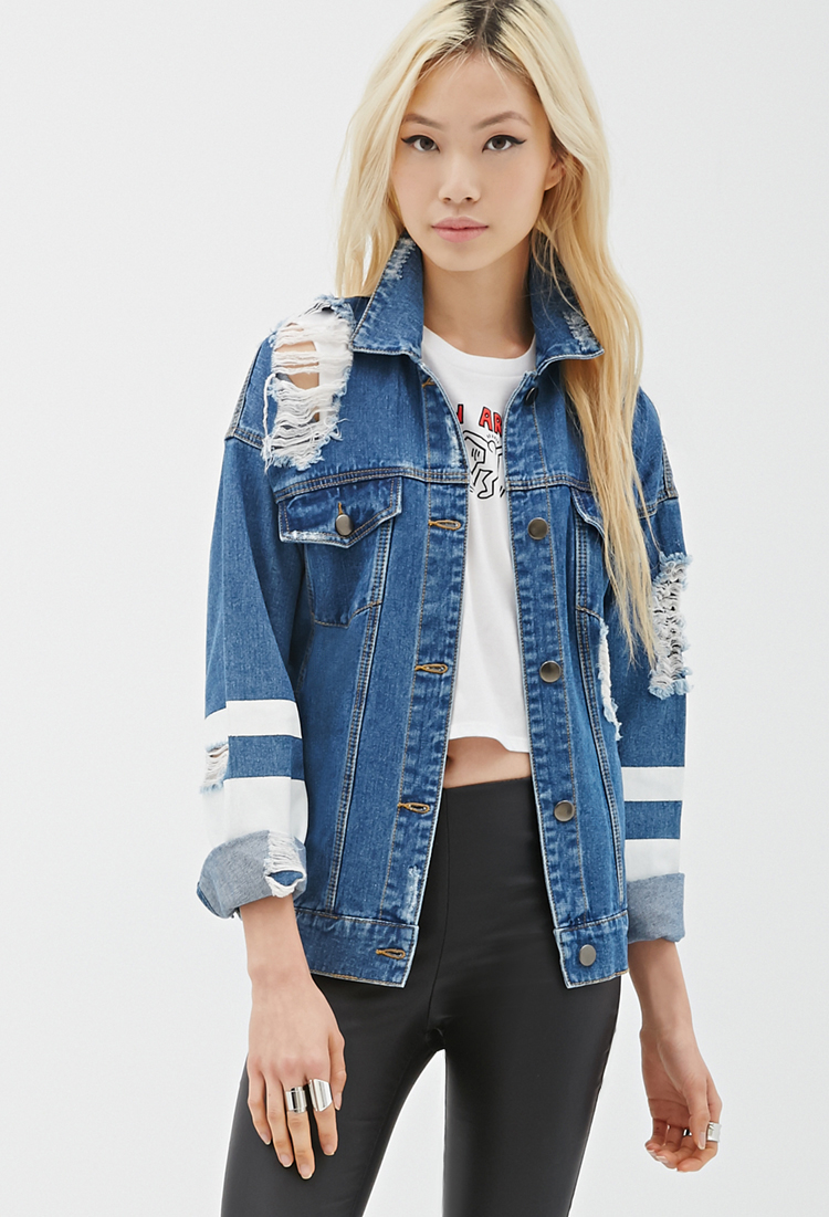 Forever 21 Distressed Denim Jacket In Blue Lyst