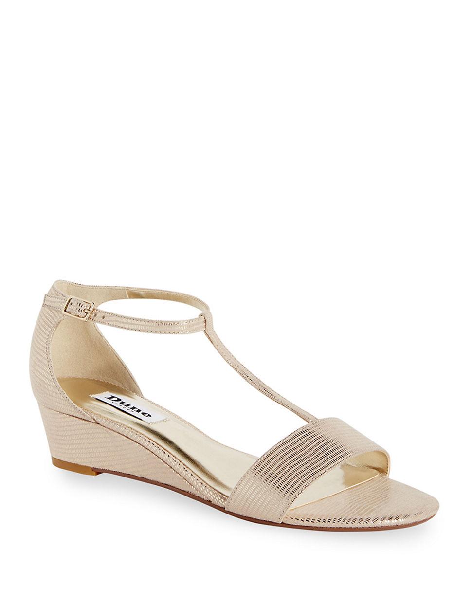 dune kaira t wedge sandals in beige gold lyst