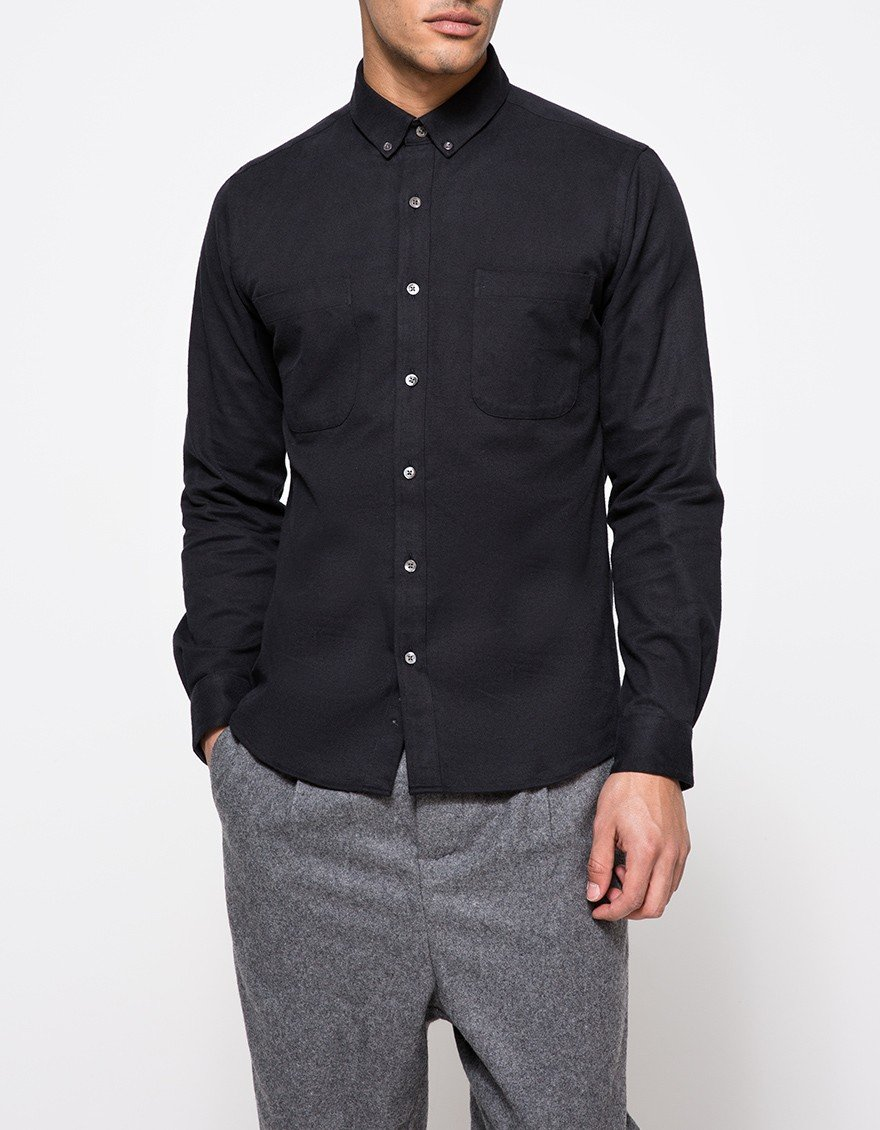 Patrik ervell textured oxford work shirt in black for men for Mens shirts with snaps instead of buttons