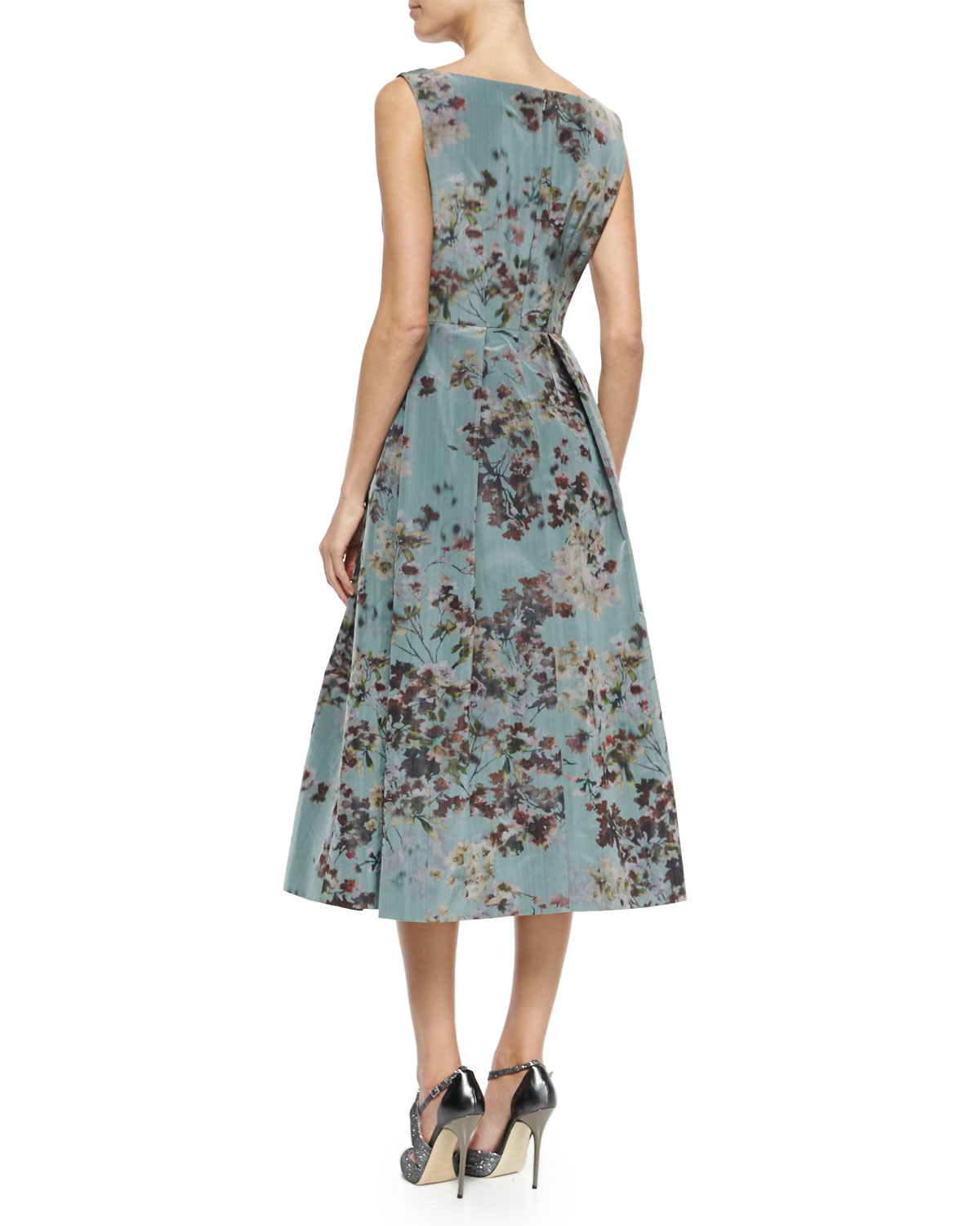 tea length sweater dresses lyst kay unger floral sleeveless tea length cocktail dress 7688