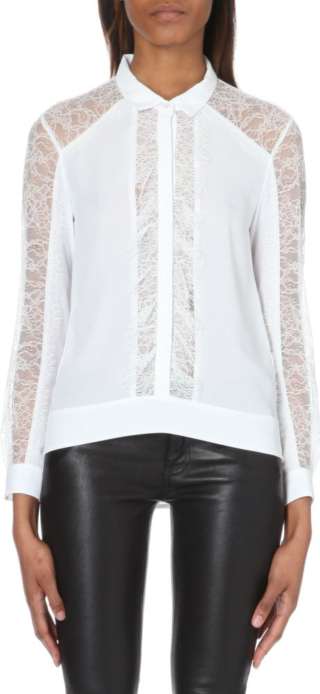 61856dbb25 The Kooples Lace-insert Crepe Shirt in White - Lyst
