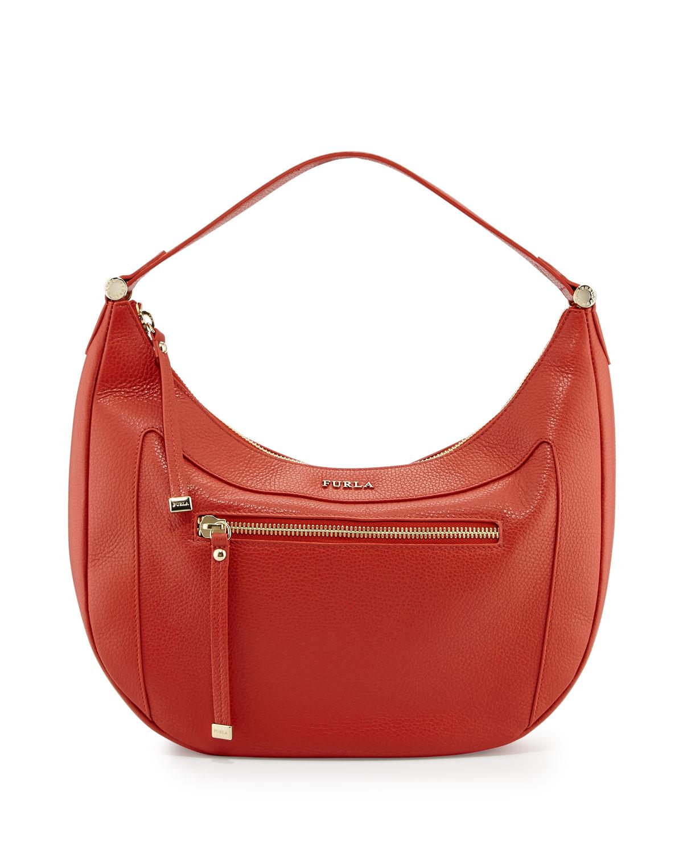 1f0890808e Lyst - Furla Ginevra Medium Leather Hobo Bag in Orange