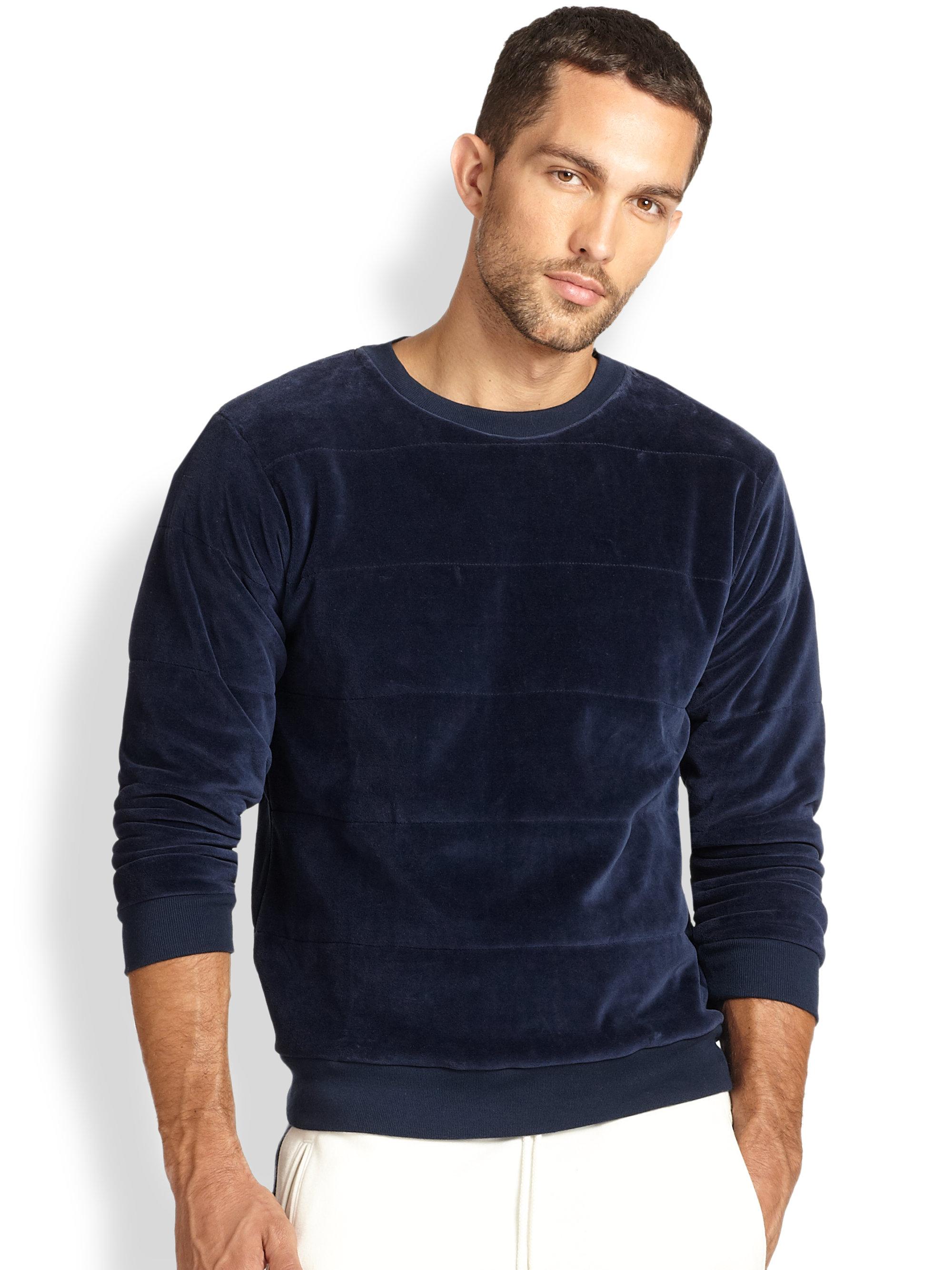 201 Ditions Mr Velvet Seamed Pullover In Blue For Men Lyst