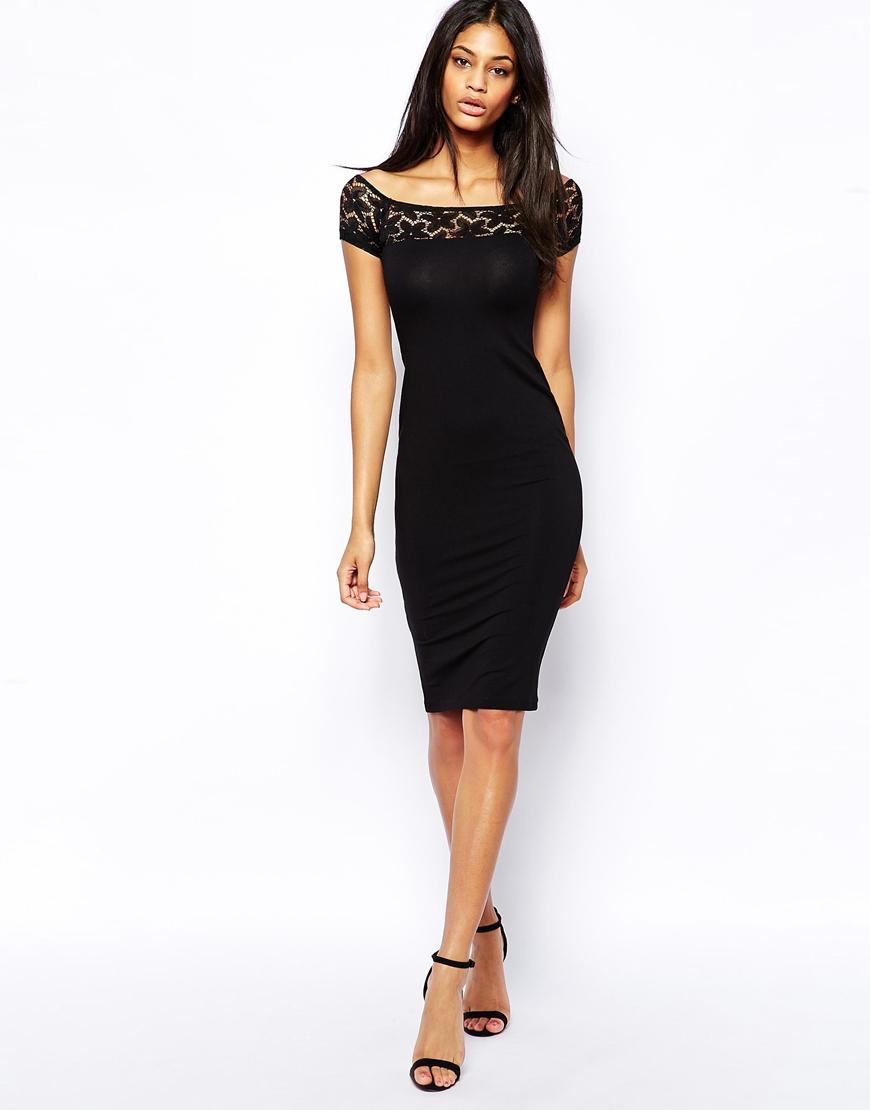 Lyst Asos Lace Insert Bardot Midi Dress In Black