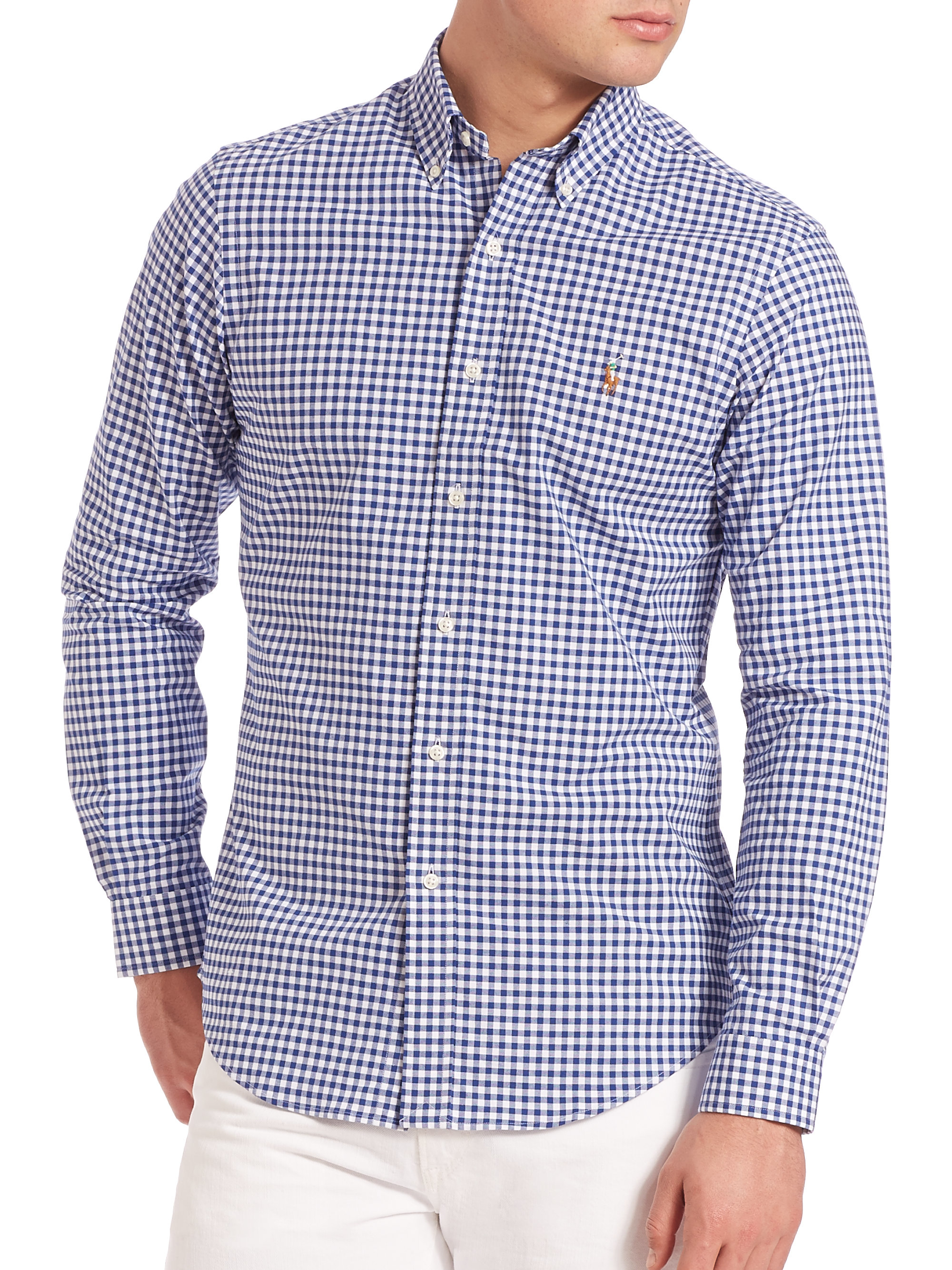 3ea7348b465ce Lyst - Polo Ralph Lauren Slim-fit Gingham Oxford Shirt in Blue for Men