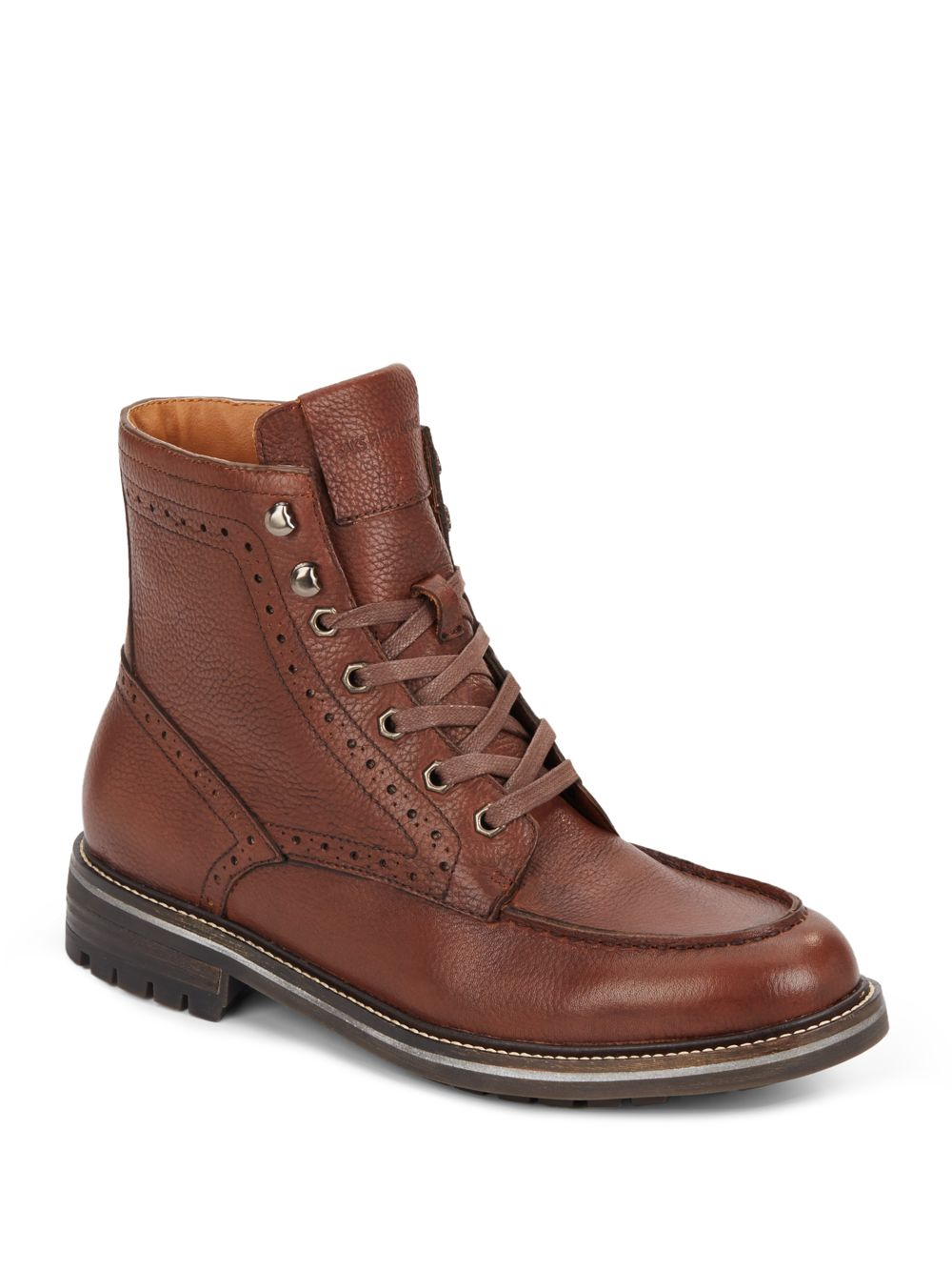 saks fifth avenue rick leather boots in brown for lyst