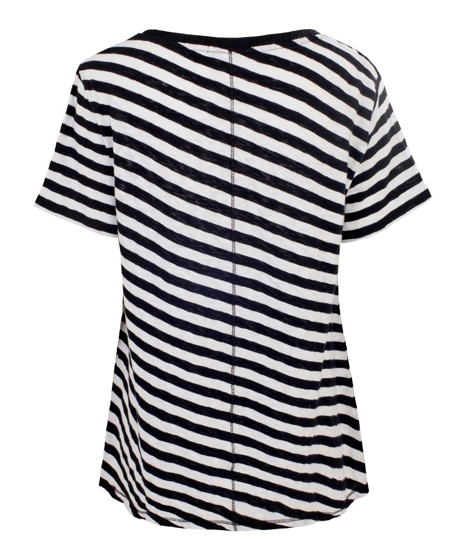Rag Bone Black And White Concert Striped T Shirt In