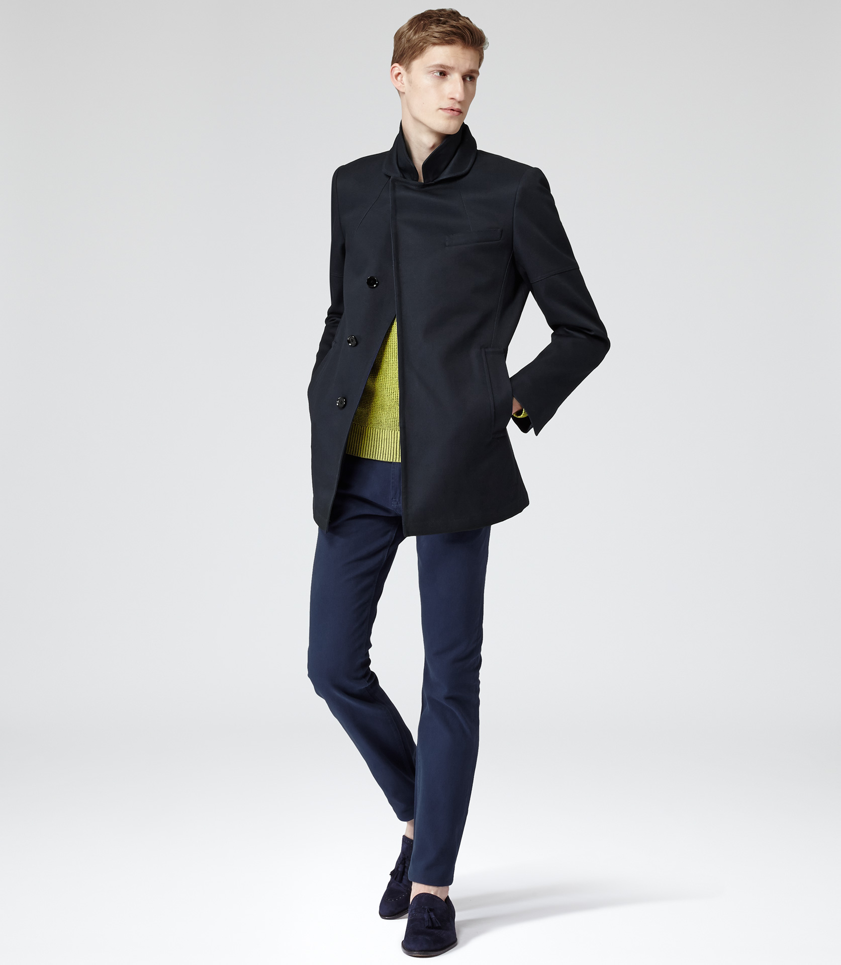 Reiss Brooks Single Breasted Pea Coat in Blue for Men | Lyst