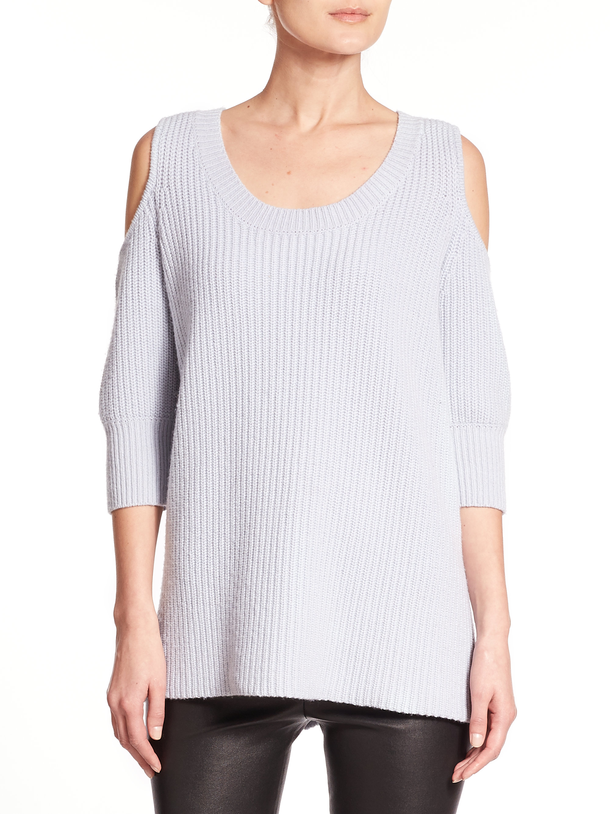 ad392bca33c Zoe Jordan Dias Wool & Cashmere Cold-shoulder Sweater in Blue - Lyst