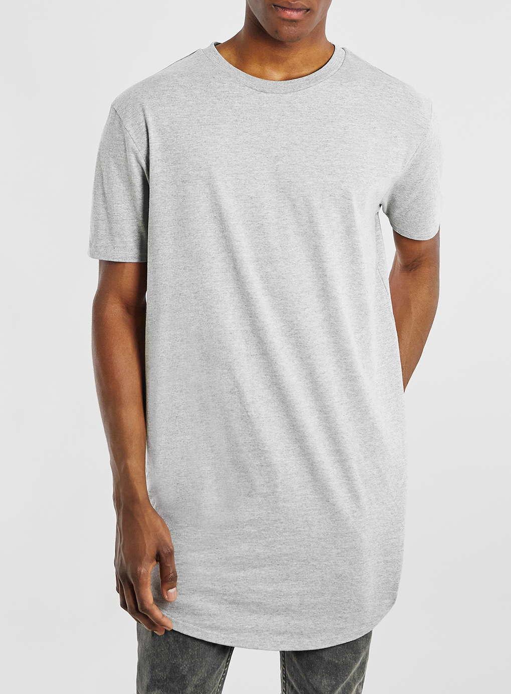 Topman grey marl long line t shirt in gray for men mid for Grey marl t shirt