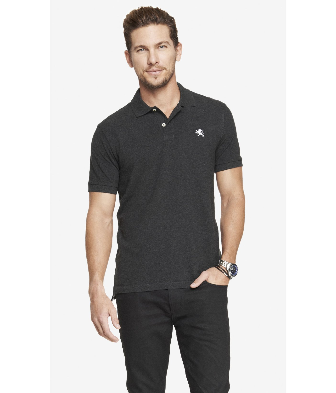 Express Modern Fit Small Lion Pique Polo Gray Heather In