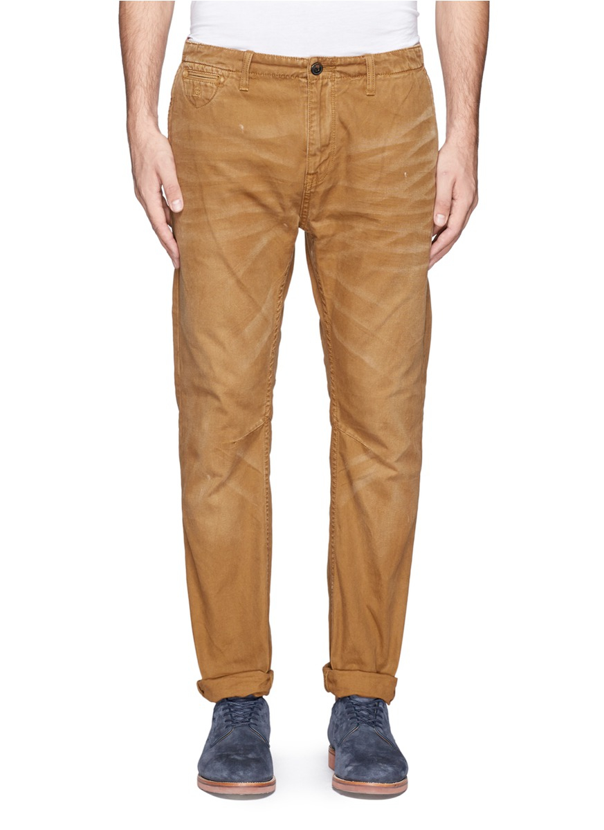 Scotch Soda Brown Garment Dyed Cotton Chinos Product Normal Link Belt To Debut At