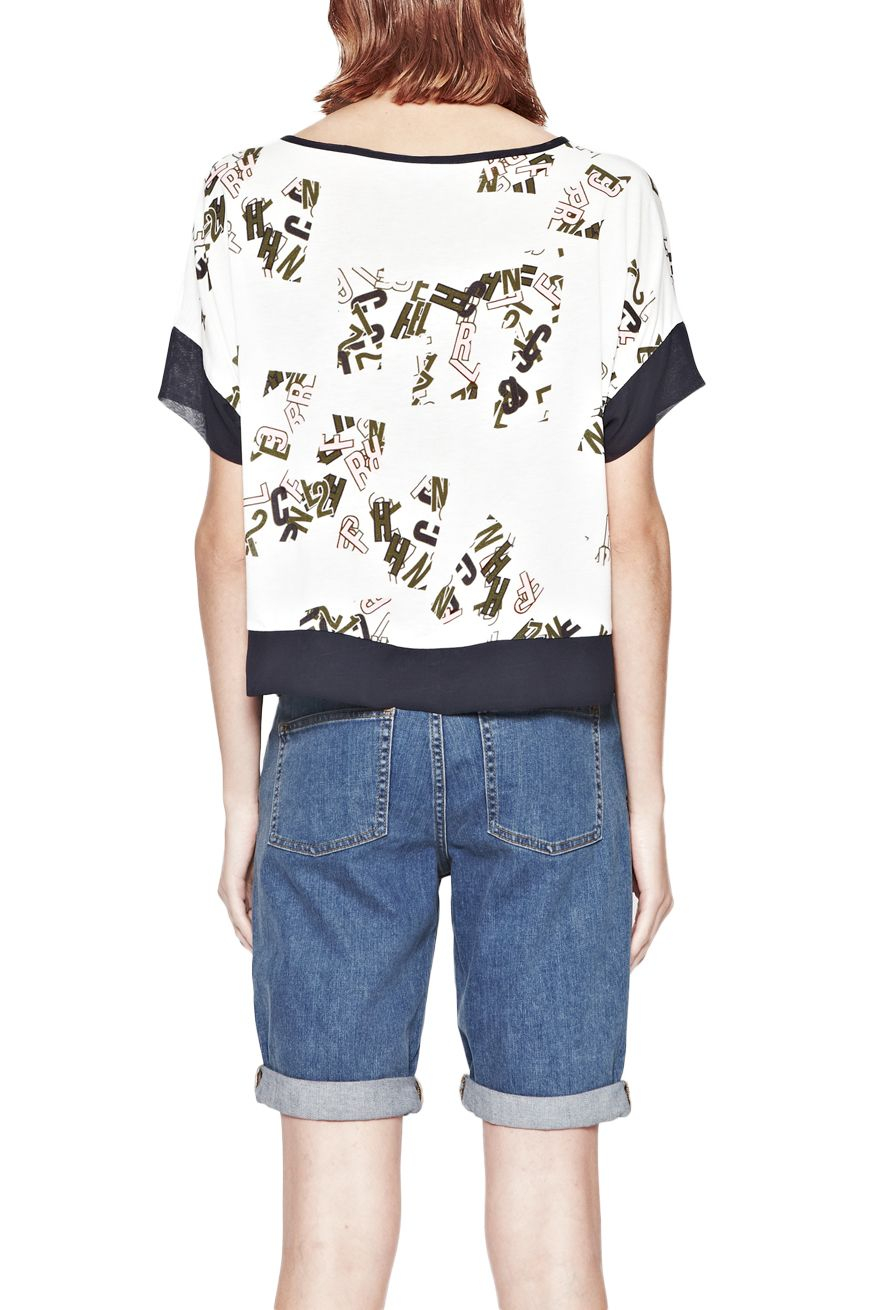 French Connection French Scatter Cropped T Shirt In White