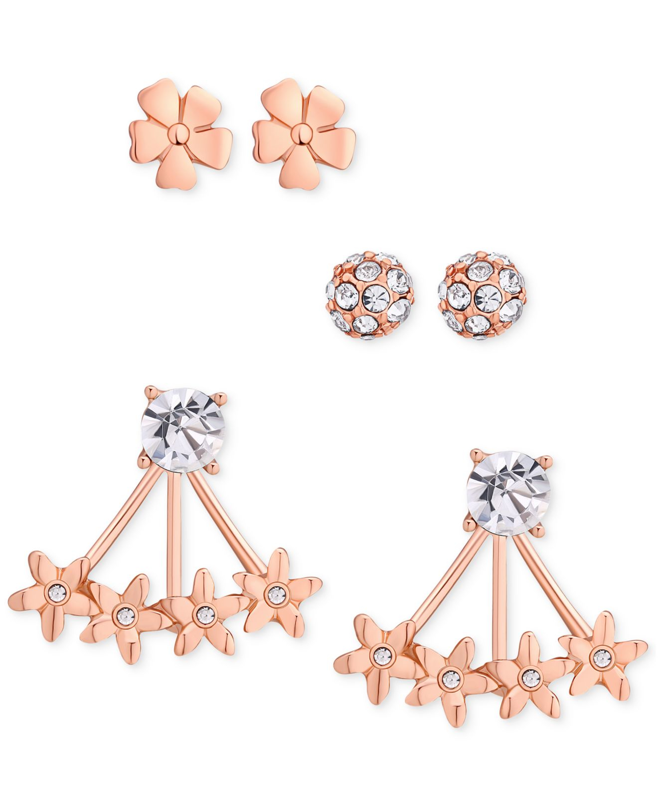 Guess Rose Gold Tone Stud Flower Front Back Earrings Trio In Pink