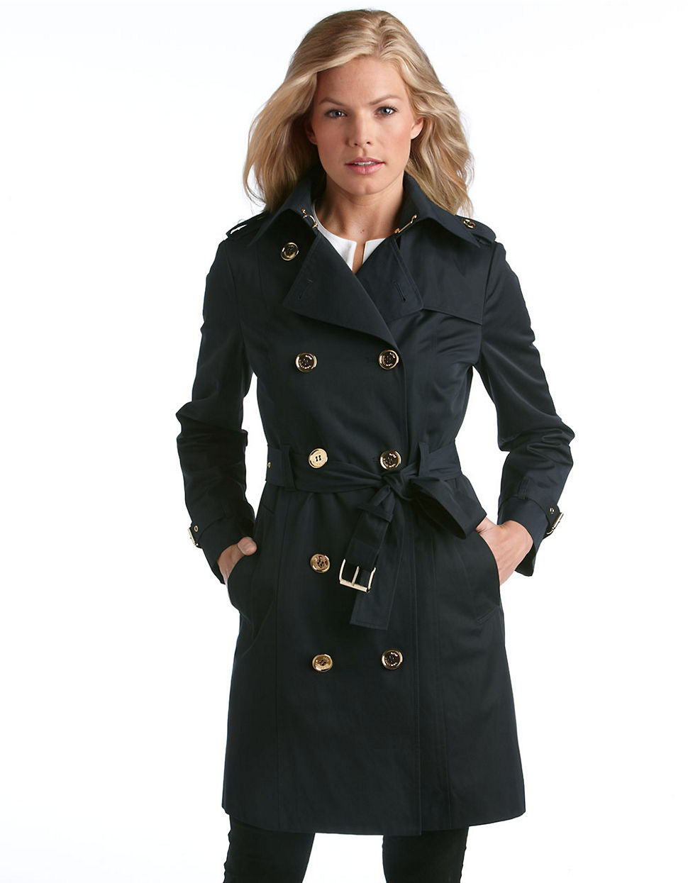 Michael michael kors Double Breasted Trench Coat in Black | Lyst