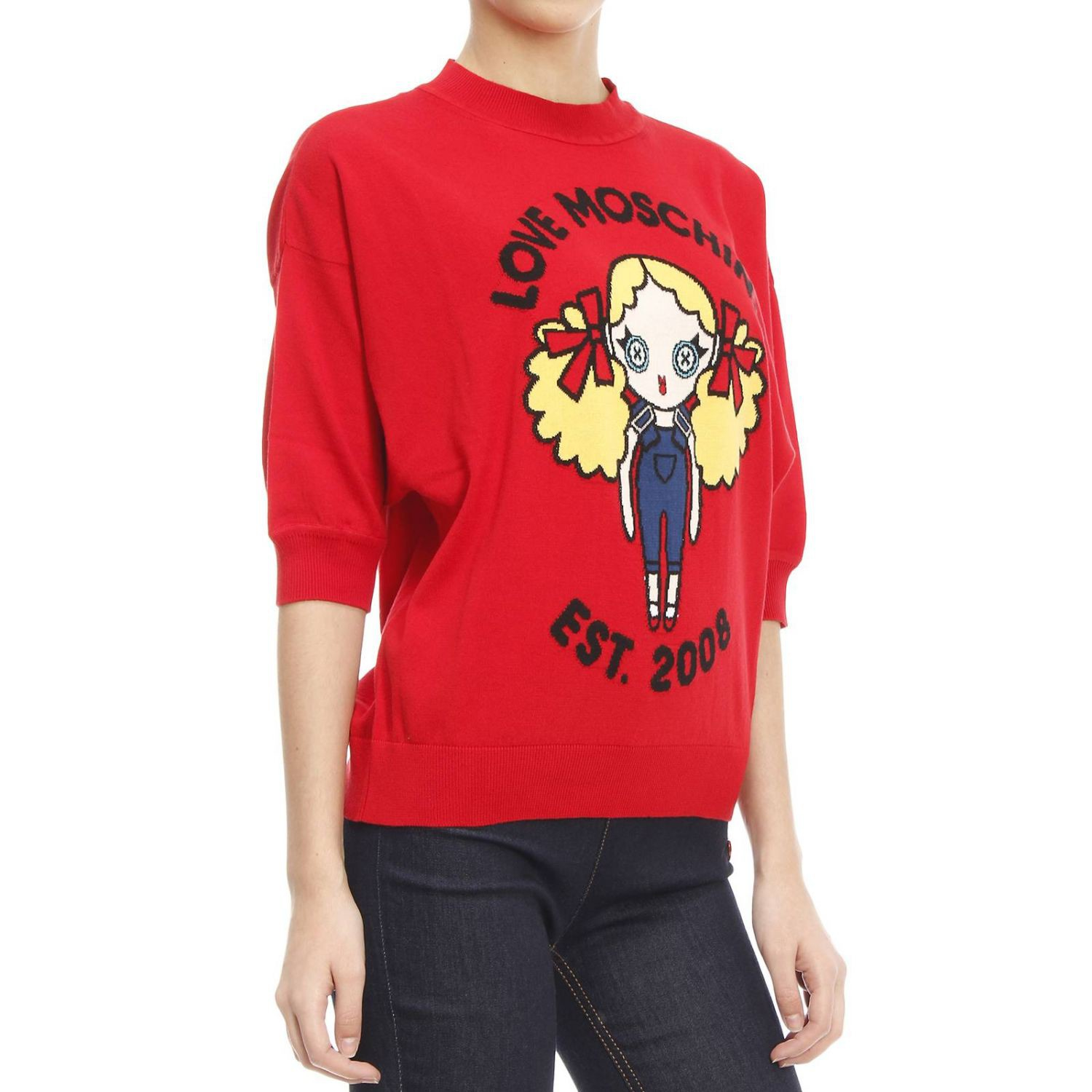 love moschino moschino women 39 s sweater in red rosso lyst. Black Bedroom Furniture Sets. Home Design Ideas