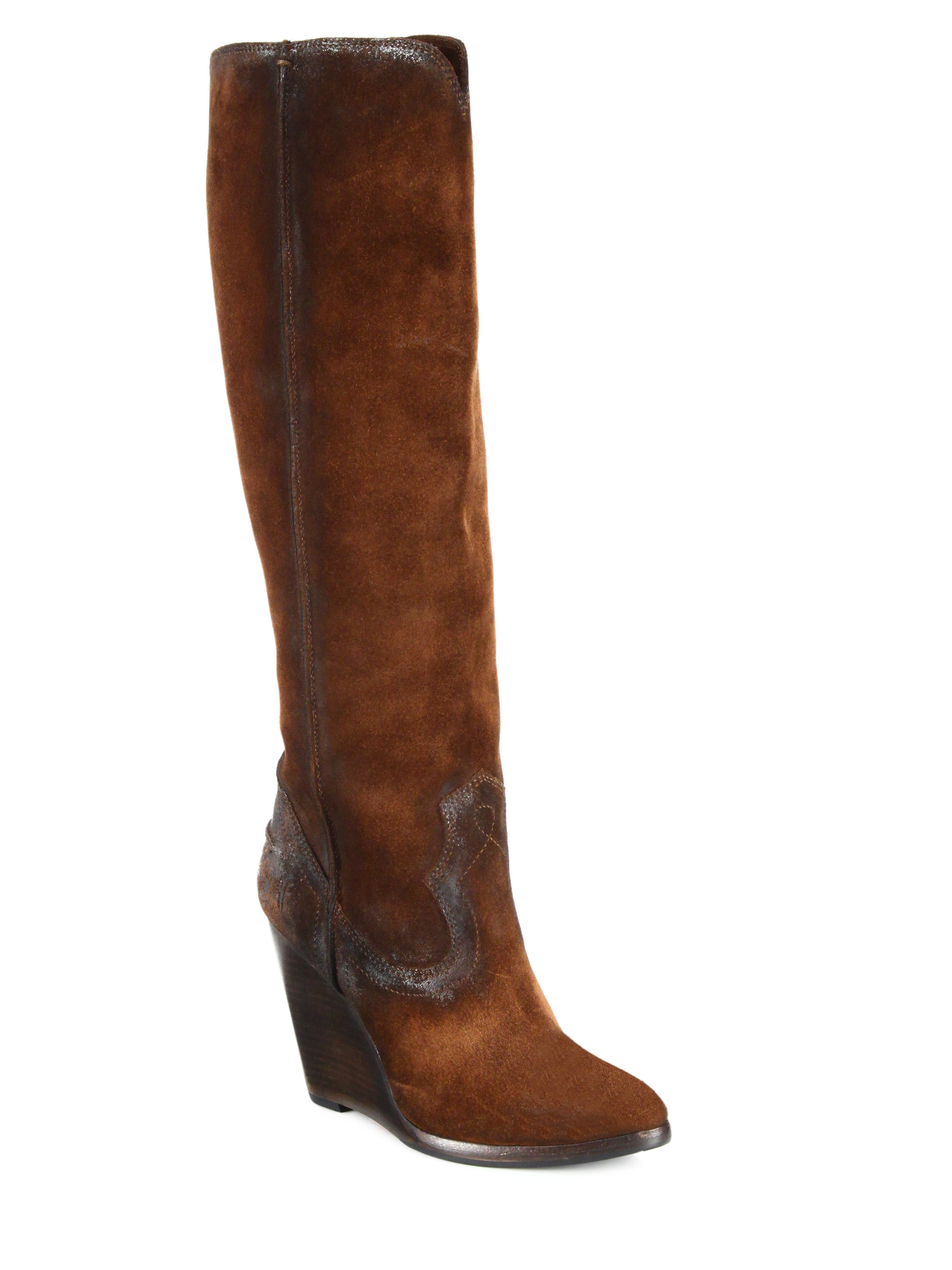 Frye Cece Seamed Suede Wedge Boots in Brown | Lyst