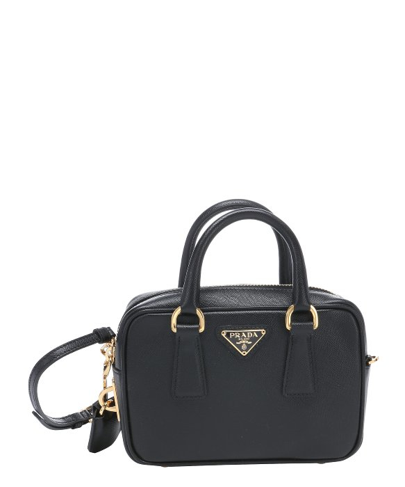 f93668b6aae5 ... new arrivals lyst prada black saffiano leather mini convertible top  handle bag 6d88a 698f6