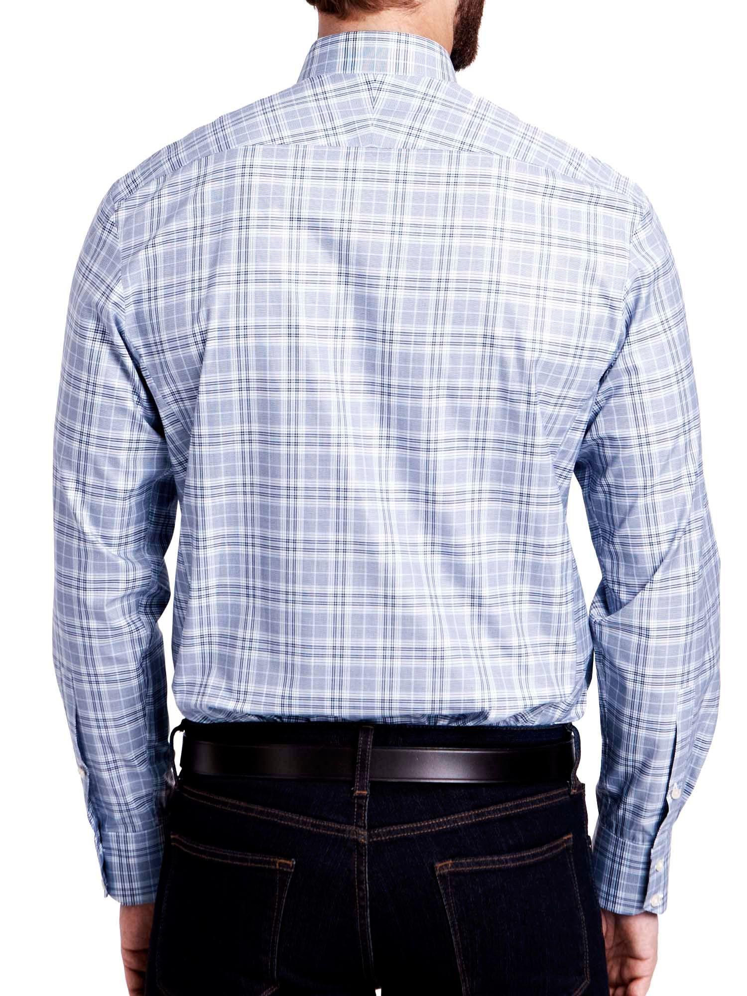 Thomas pink harding check button cuff shirt in blue for for Cuff shirts for men