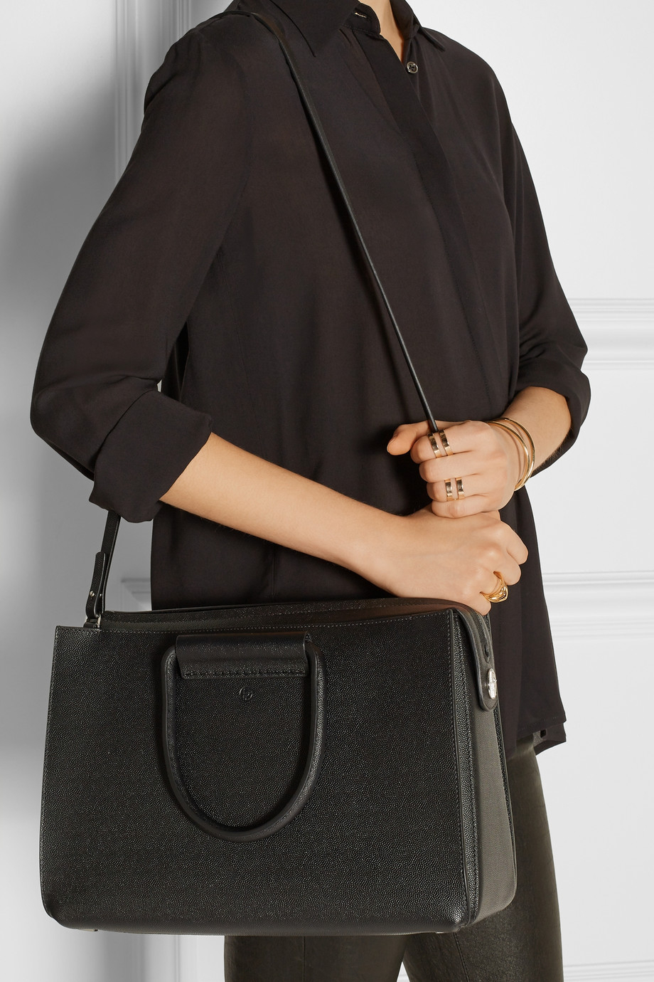 The row Classic 5 Pebbled-leather Tote in Black | Lyst