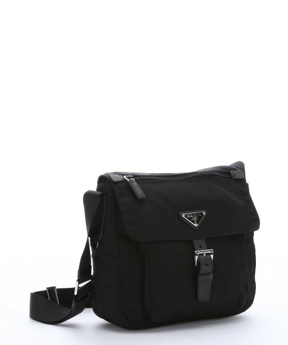 a9818d786b35 ... amazon lyst prada black nylon small flap front messenger bag in black  for men 2cbca a0ca8