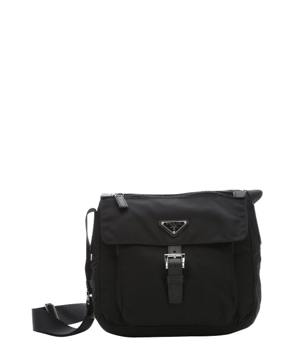 9f06b5b347bd2b ... amazon lyst prada black nylon small flap front messenger bag in black  for men 06bcf 1ac9d
