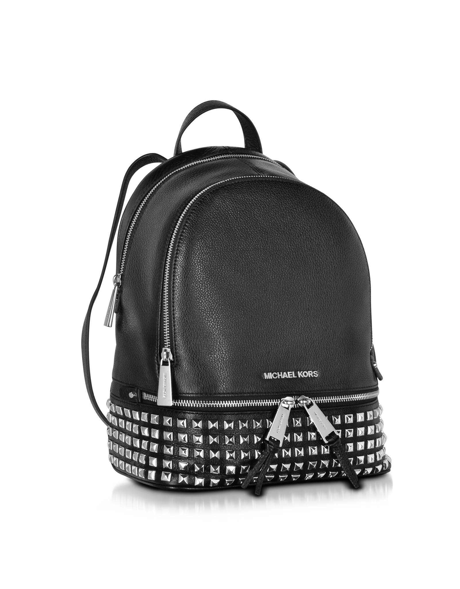 0186cadb879c Michael Kors Rhea Zip Small Studded Leather Backpack in Black - Lyst